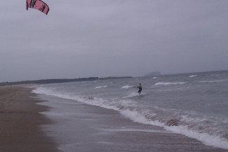 Kite surfer in Dunbar, East Lothian in Scotland UK