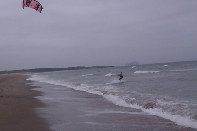 Kite surfer in Dunbar, East Lothian in Scotland UK
