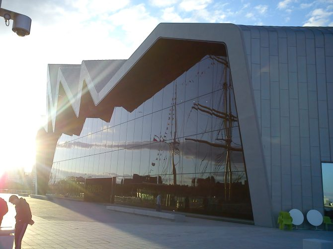Riverside Museum and reflection of the Tall ship.