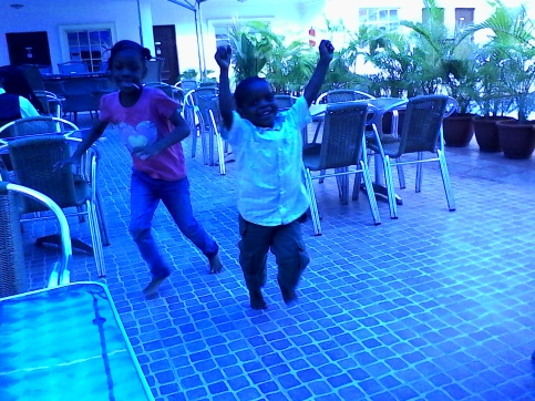 Cousins leap for joy